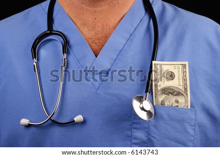 doctor or nurse with stethoscope and 100 dollar bill in pocket - stock photo