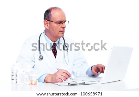 Doctor physician. Health care. Isolated on white background. - stock photo