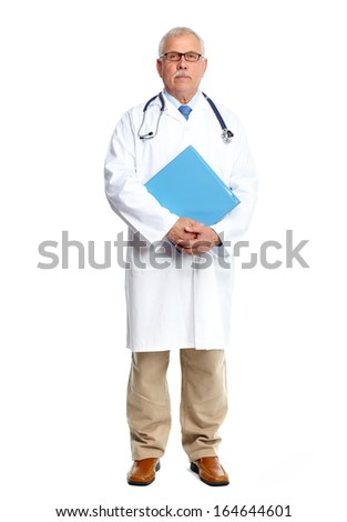 Doctor physician Standing Isolated on white background. - stock photo