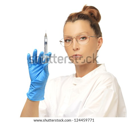 Doctor prepare to Injection of beauty products.Looking at camera - stock photo