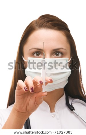 Doctor preparing vaccination injection isolate on white - stock photo