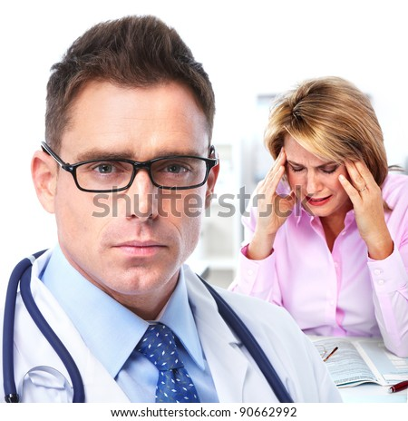 Doctor psychiatrist and woman patient. Mental health. - stock photo