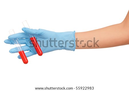 Doctor research a samples of blood for vaccine - stock photo