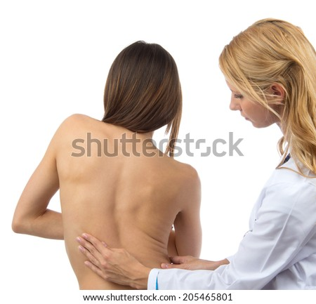 Doctor research patient spine scoliosis deformity backache isolated on a white background - stock photo