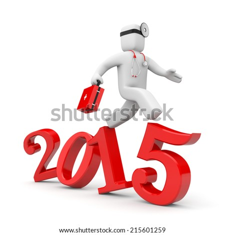 Doctor run to new year. Reform of Medicine in USA - stock photo