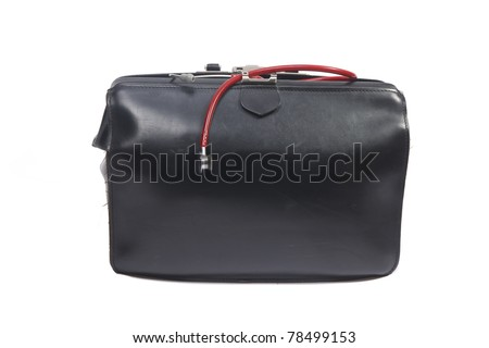 Doctor's bag with small red children's stethoscope