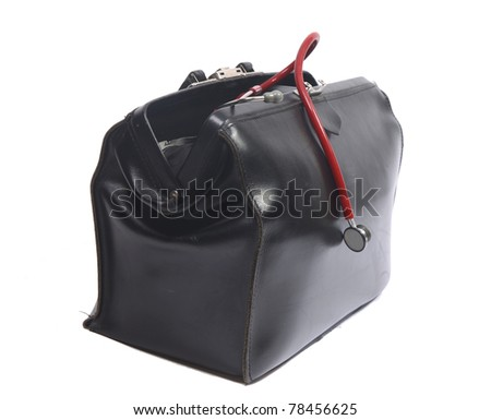 Doctor's bag with small red stethoscope for children - stock photo