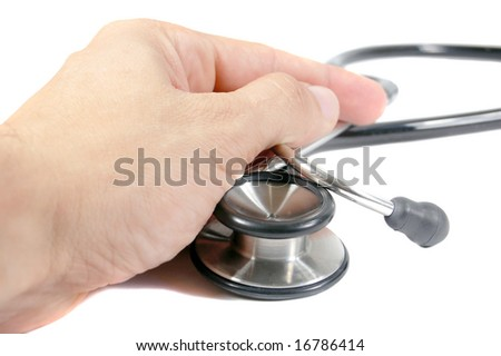 Doctor's hand holding a stethoscope isolated on white