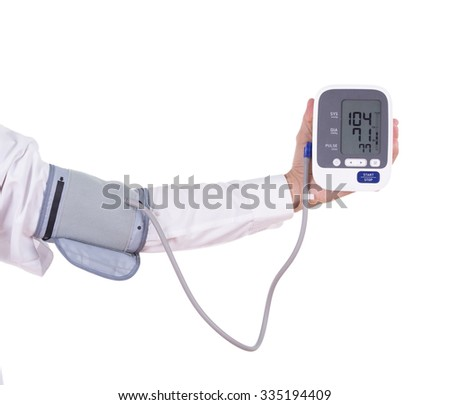 doctor's hand with digital blood pressure monitor isolated on white background - stock photo