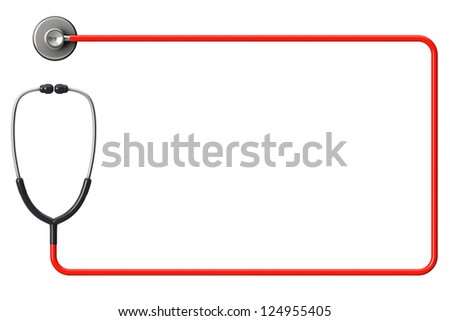 Doctor's stethoscope in red as frame on a white background with space for text - stock photo