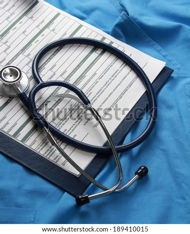 Doctor's stethoscope on the form