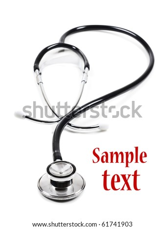 Doctor's stethoscope on white background with space for text
