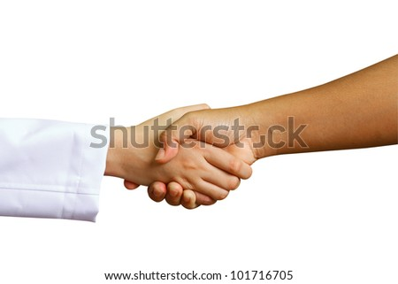 doctor shakes hands with a woman patient with isolate background - stock photo