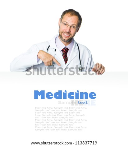 doctor showing clipboard on white background - stock photo