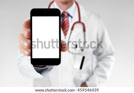 Doctor showing information on a smartphone