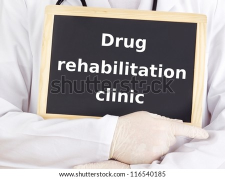 Doctor shows information: drug rehabilitation clinic