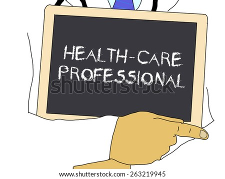 Doctor shows information: Health-care professional - stock photo