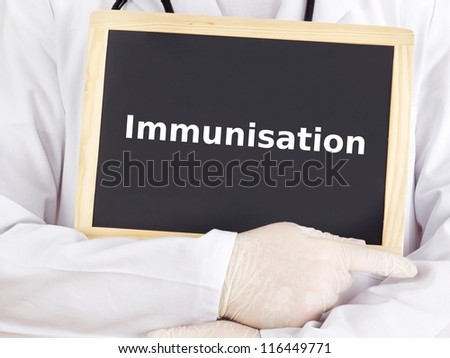 Doctor shows information: immunisation
