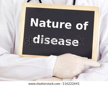 Doctor shows information: nature of disease