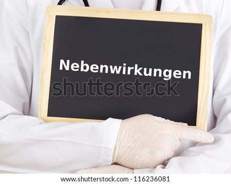 Doctor shows information on blackboard: adverse reactions - stock photo