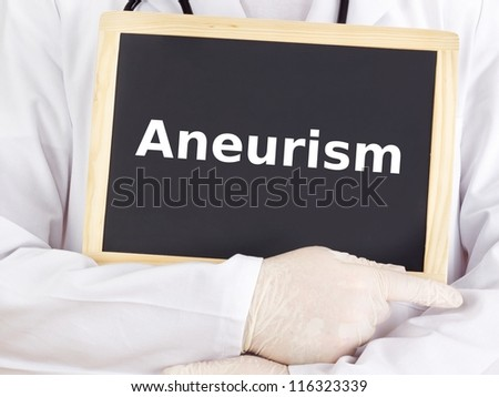 Doctor shows information on blackboard: aneurism