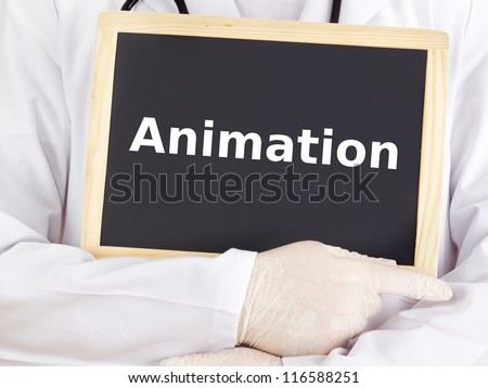 Doctor shows information on blackboard: animation
