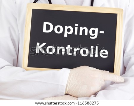 Doctor shows information on blackboard: doping test