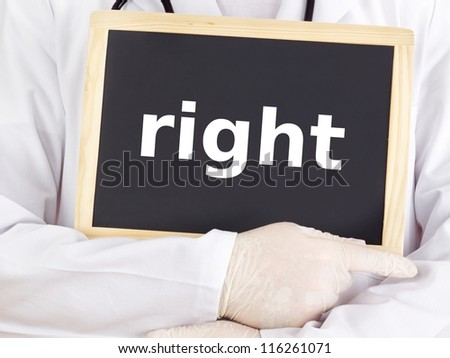 Doctor shows information on blackboard: right