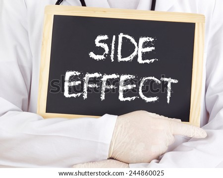 Doctor shows information on blackboard: side effect - stock photo
