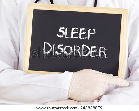 Doctor shows information on blackboard: sleep disorder