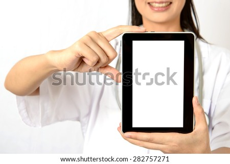 Doctor smiling and on hands holding a tablet touch computer gadget with isolated screen