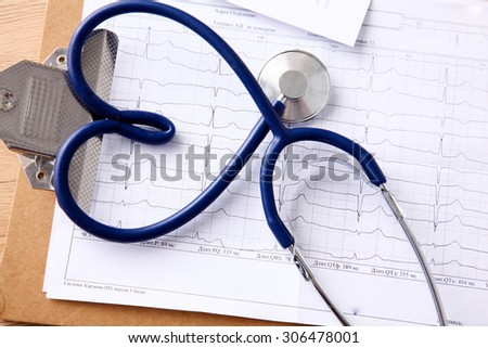 Doctor stethoscope heart on your desktop 3D - stock photo