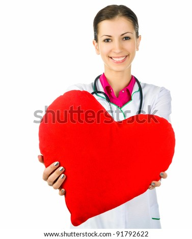Doctor taking care of red heart symbol  on white background