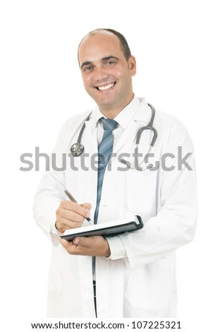 doctor taking notes about his patients on white background - stock photo