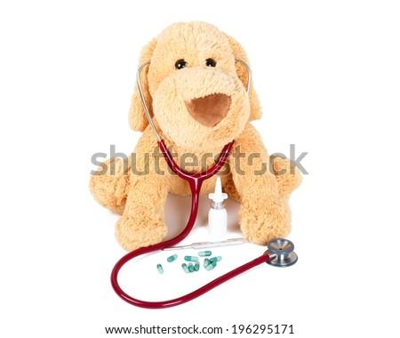 Doctor Teddy ready to examine every child! - stock photo