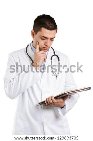 Doctor thinking about patient's report. Isolated on white.