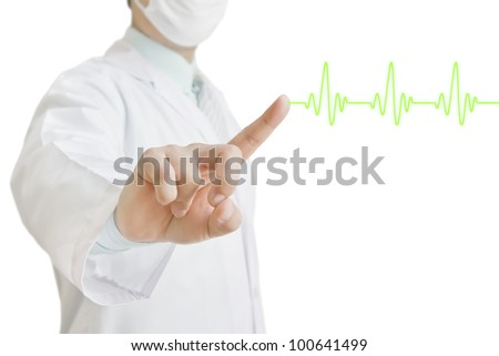 Doctor touching a cardiogram over white background - stock photo