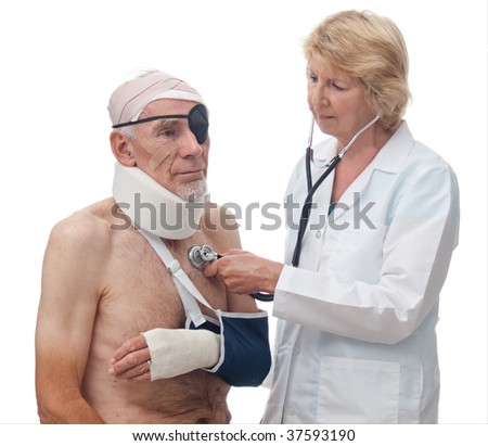 Doctor treating senior with multiple injuries