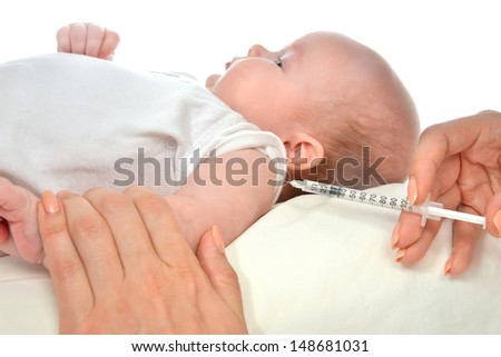 Doctor vaccinating child baby flu injection shot isolated on a white background