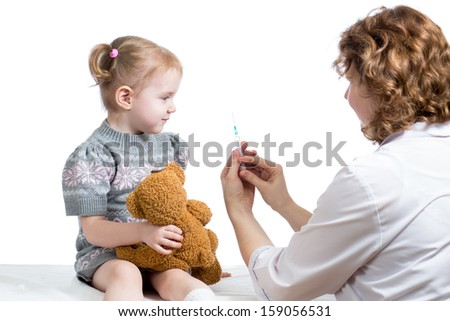 doctor vaccinating kid - stock photo