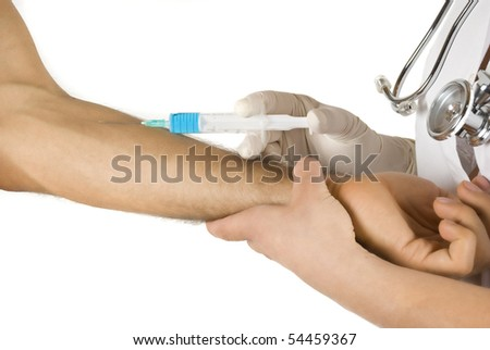 Doctor vaccine a male patient on white background - stock photo