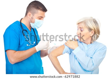 Doctor vaccine for flue a senior woman patient isolated on white background