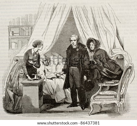 Doctor visiting ill man. Created by Lamy, published on Magasin Pittoresque, Paris, 1843 - stock photo