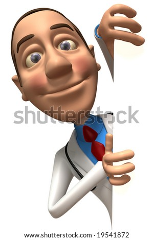 Doctor with a blank sign - stock photo