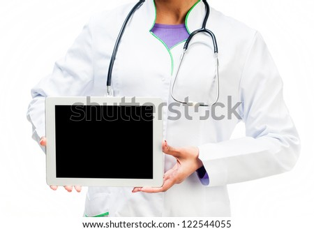 Doctor with a digital tablet isolated on white background - stock photo