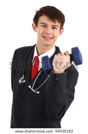 Doctor with a dumbell, isolated on white - stock photo