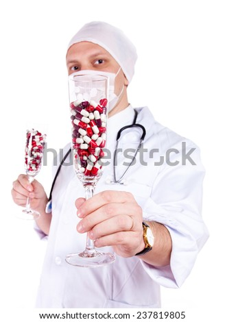 doctor with a glass of pills - stock photo