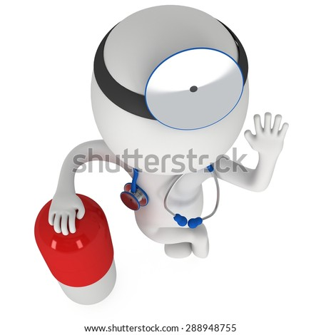 Doctor with a stethoscope and mirror on his head stand near pill. 3d render man isolated on white. Medicine and healthcare concept. - stock photo
