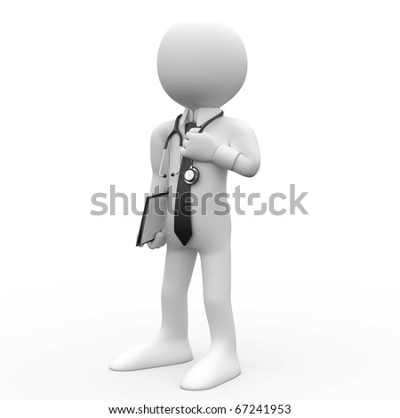 Doctor with a stethoscope around his neck - stock photo