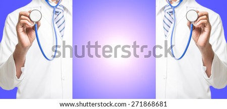 Doctor with a stethoscope in the hand 2 side, the middle area for the text. - stock photo